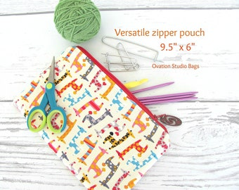 Knitting needles case DPN storage case, Pencil case, Kawaii giraffes crochet hooks case, toy bag, Cables storage, Zipper pouch makeup bag