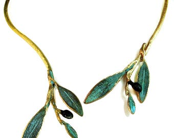 Olive Branch Necklace 'Elia' by Ilios, Olive Leaf Necklace, Greek Necklace, Greek Jewelry, Greek Wedding, Wedding Jewelry, Greek Bronze