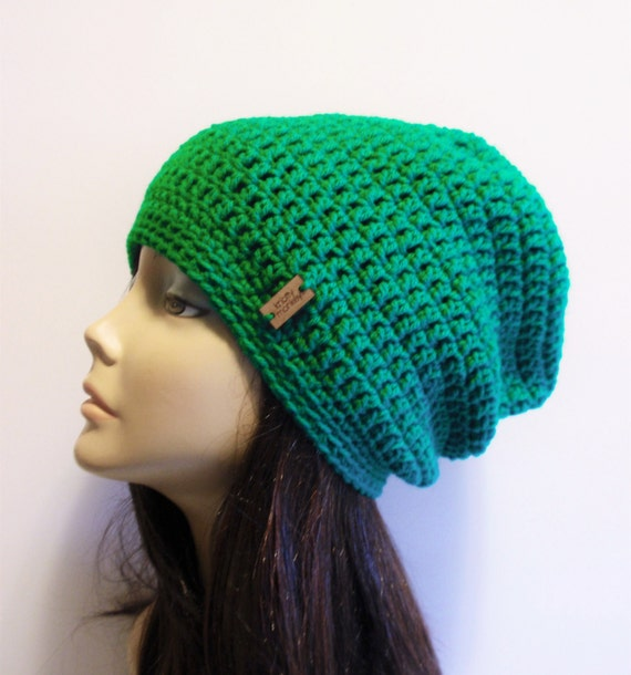 Mütze Kelly Green häkeln Slouch Beanie Womens grün Beanie