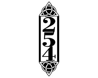 Celtic Knot Vertical Outdoor House Number Metal Sign - 3 Digit, Black, 6.5x22, Address Plaque, Custom Sign, Outdoor Sign