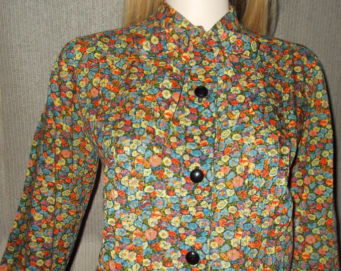 Vintage 70s Handmade Hippie Chic Festival Womens Floral Calico Cotton Long Sleeve Preppy School Girl Pussy Bow Tie Blouse