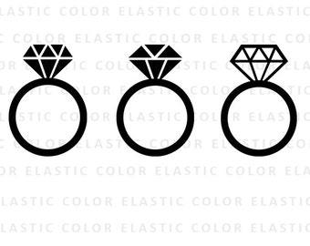 Diamond Ring - diamond ring monogram frame - diamond ring icon silhouette  digital file svg, png, dxf, eps