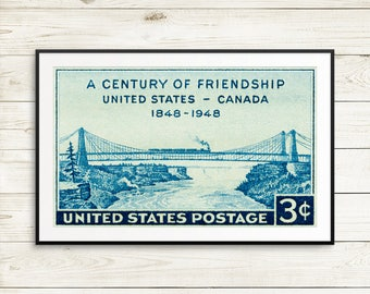 Century of Friendship, US postage stamp art, Canada stamp art print, vintage USA poster art, antique Canada wall art, Usa vintage wall decor
