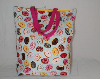Large Reusable Grocery Bag, Tote Bag, Farmers Market, Eco Friendly, Washable, Foldable, Donuts, Cotton