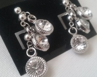 Faux Diamond Earrings, Wedding Day Earrings, Set of 3 Pairs Stud Earrings, Brides Maid Earrings, Matching Earrings, Bridal Party Jewelry