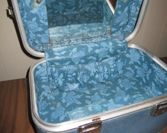 Vintage Mid Century Blue Overnight Cosmetic Carry-On Bag with Original Mirror