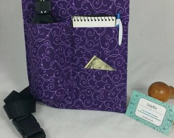 Massage Therapy single 2 side pocket LEFT hip holster, purple scroll, black belt