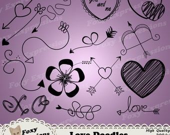 Love Doodles digital clip art pack comes with 15 hand drawn arrows, hearts, flowers, & love sayings that is sure to bring a touch of romance