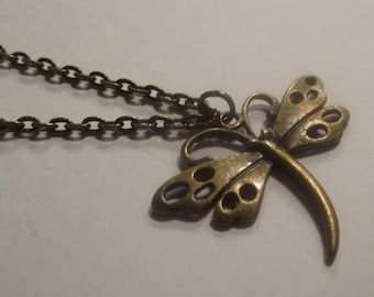 Dragonfly Antique bronze Pendant on a Delicate Chain Necklace
