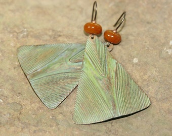 Green Patinaed Brass Triangle and Amber Lampwork Glass Earrings, Handcrafted Rustic Art Glass Jewelry, Modern Geometric Drops, Aged Brass