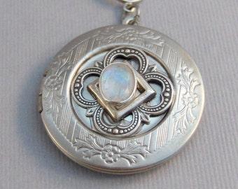 Enchanted Moon,Moonstone,Moonstone Necklace,Antique Locket,Silver Locket,White Locket,,Gemstone Locket,Opal,Gemstone Necklace,Genuine