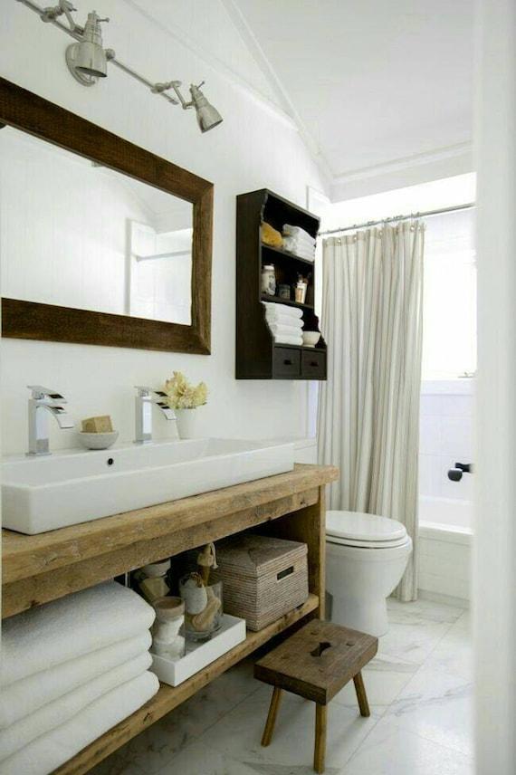 Rustic custom vanity bathroom powder room dallas - Custom size bathroom vanity tops ...