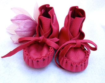 Hot Pink Moccasins, Deer Skin  Soft soled,  Kids Shoes,Totmocs,Free shipping