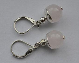 Genuine Rose Quartz Sterling Silver Lever Back Earrings 15