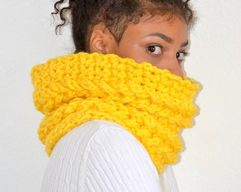 Yellow Faux Cable Cowl/ Crochet Yellow Cowl/ Faux Cable Cowl/ Cable Neck Warmer/ Crochet Neck Warmer/ Winter Cowl/ Winter Cowl Scarf/ Scarf