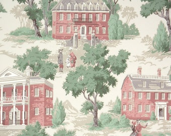 1940s Vintage Wallpaper - Kraft Paper Colonial Houses and Trees