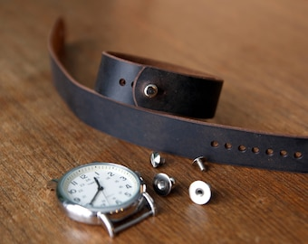 Leather watch strap for Timex Weekender - Dark Brown Crazyhorse