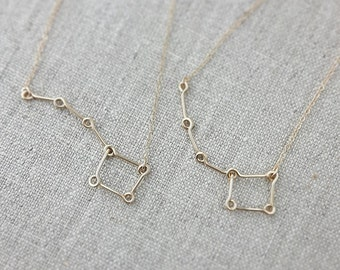 Big Sister Necklace, Little Sister, Big Dipper Little Dipper Necklace, 14K Gold or Rose Gold, Mother Daughter Necklace Set, Constellation