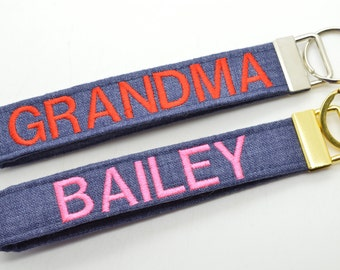 Personalized Keychain Key Chain with Name Monogram Embroidered Fob Wristlet Denim Print