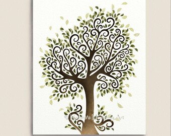Whimsical Tree Art Print, Nature Wall Decor, Fantasy Watercolor Tree Artwork, Summer Tree, 8 x 10 Print (120)