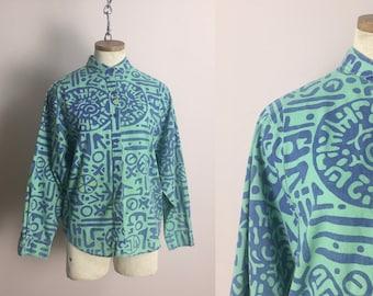 80 s chemise wrangler en vert et bleu Tribal Print-années 1980 Vintage Western Blouse - fané nouvelle vague Punk ample manches longues petits cow-girl