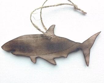 Shark Ornament - Shark Christmas Ornament - Wood Shark Ornament - Rustic Wood Shark - Shark Decor - Shark Gift - Hanging Shark - Wood Shark
