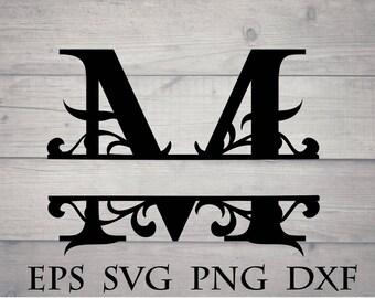 Split initial svg / split letter M monogram svg - split monogram font svg, split letter alphabet, divider initial svg, for cricut vinyl, png