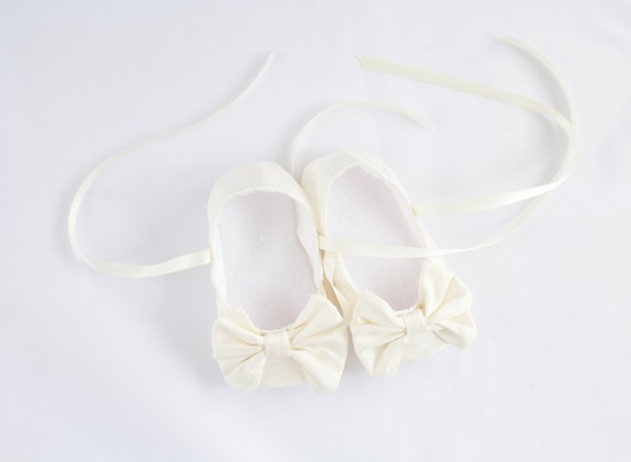 Ivory Silk  Christening/ Baptism shoes, girls soft sole with large bow