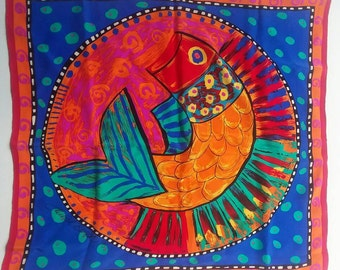 Laurel Birch Silk Scarf Colorful Fish
