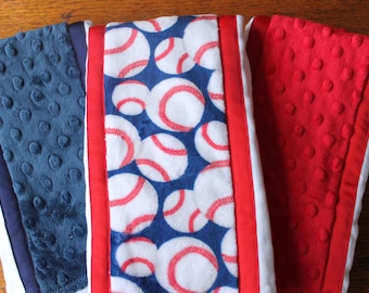 Set of 3 Matching Burp Cloths Baseball Print Minky and Coordinating Navy Dimple Dot Minky and Red Dimple Dot Minky with Ribbon Edging