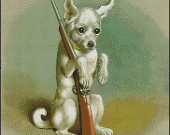 VINTAGE DOG WIith A GUN cross stitch patter No.11