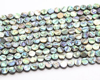 """8mm 10mm 12mm 15mm 16mm Faceted abalone shell rondelle beads 15"""" strand"""