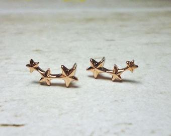 Triple Star Stud Earrings, Dainty Earrings