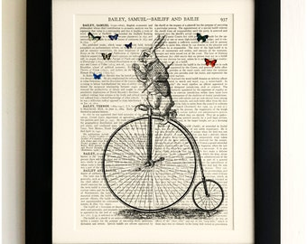 FRAMED ART PRINT on old antique book page - White Rabbit on Penny Farthing, Wonderland Vintage Wall Art Print Encyclopaedia Dictionary Page