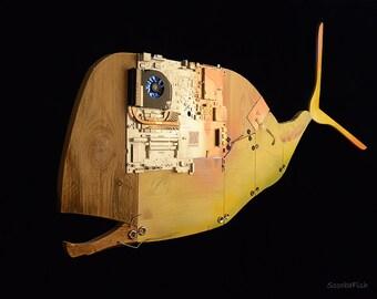 CYBER WHALE scultura da appendere, lampada moderna con luce a Led, realizzata con materiali di recupero, arredamento di design