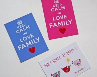 Set of 3 cards postcards Keep Calm & chicks