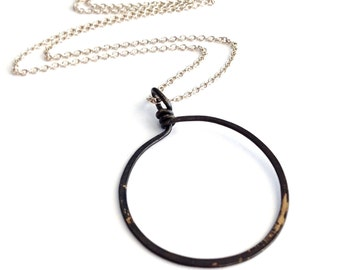 Large Gunmetal Hoop Necklace. Open Circle Sterling Silver Necklace. Round Circle Hammered Necklace.