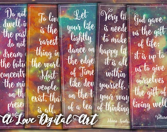 Digital printable bookmarks, Life Quotes, instant download, digital collage sheet, inspirational quote downloadable images, bookmarks making