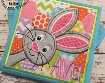Bunny in a box applique embroidery design