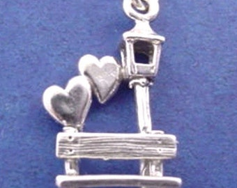 Lovers PARK BENCH Charm .925 Sterling Silver Pendant -  lp4014