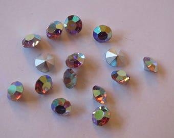 Rhinestone, round diamond cut, light amethyst AB, SS 35 (x 48)
