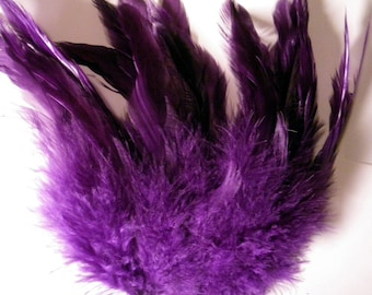 purple feathers Strung Schlappen Dyed 6 to 8 inches  SCH-19 scrapbooking crafts long feathers