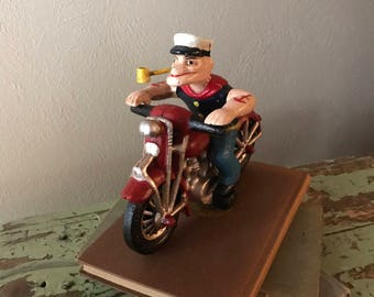 Hubley Cast Iron Popeye on Motorcycle