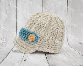 Crochet baby newsboy hat, baby boy hat, newborn photo prop, baby boy clothes, newsboy hat, coming home outfit, brim hat, newborn boy, blue