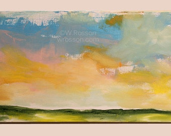 Large Landscape, Painting, Minimalist Landscape, Original, Minimalist, Home Decor, Office Art, Wall Art, Winjimir, Orange, Green, Blue,