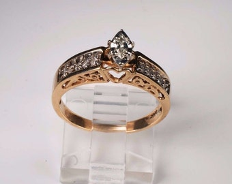 14K Yellow Gold Marquise Diamond Ring, size 7.5