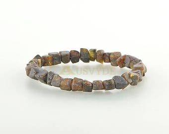 Raw unpolished Baltic amber bracelet Adults, Raw amber bracelet, Baltic amber beads, HG074
