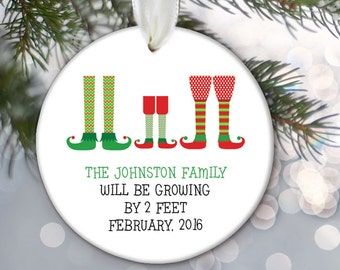 Birth Announcement Pregnancy Announcement Ornament Personalized Christmas Ornament Adoption Gift Elf family will be growing by 2 feet OR696
