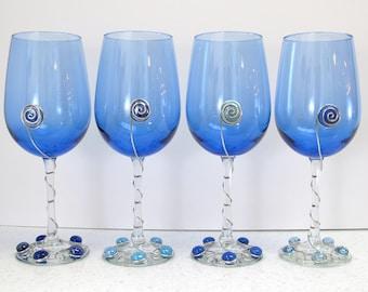 Blue Wine Glasses, Set of Wine Glasses, Beaded Wine Glasses, Wire Wrapped Wine Glasses, Set of 4 Wine Glasses