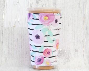 Neon Florals Black Stripes Cozy, Cup Cozy, Iced Coffee Cozy, Cup Sleeve, Coffee Cozy, Coffee Cuff,